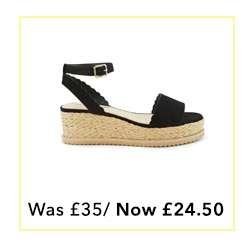 MIA Black Scallop Flatfrom Sandals