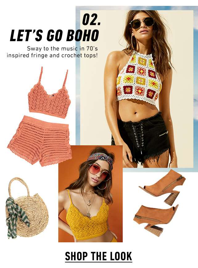 02. Let's go BOHO | Sway to the music in 70's inspired fringe and crochet tops! |  Shop the look