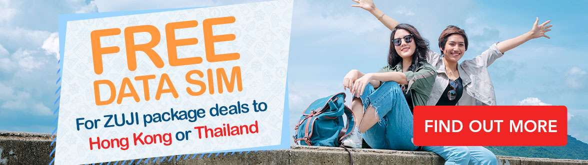 Free Data SIM - For ZUJI package deals to Hong Kong or Thailand