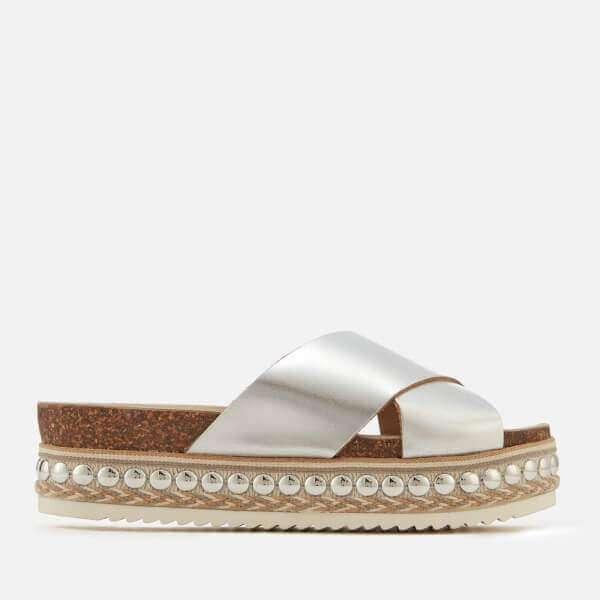 Carvela Women's Kake Leather Cross Front Flatform Sandals