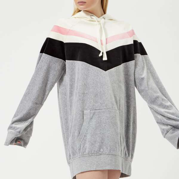 Juicy Couture Women's Colourblock Lightweight Velour Hooded Dress - Silver Lining Angel Combo: Image 01