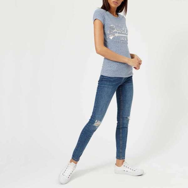 Superdry Women's Vintage Logo Embossed Foil T-Shirt - Cali Blue Snowy: Image 21