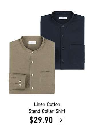 Shop Men's Linen Cotton Stand Collar Shirt
