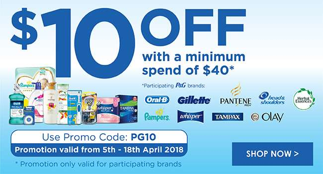 $10 off with a min. spend of $40 when you shop P&G products!