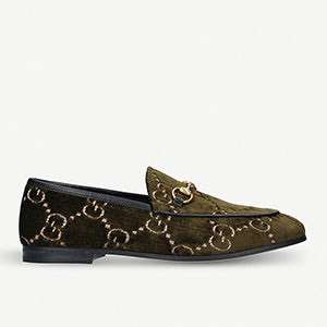 GUCCI - New Jordaan chain fabric loafers