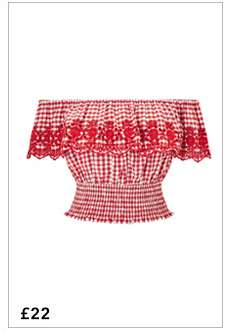 Red Embroidered Shirred Gingham Check Bardot Top