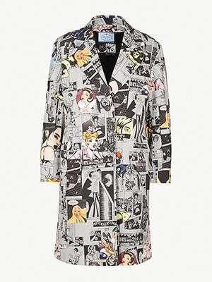 PRADA                                                          Comic-print coat