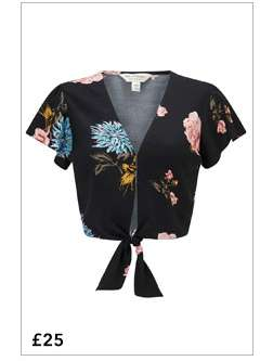 Clara Tie Front Floral Print Cropped Top