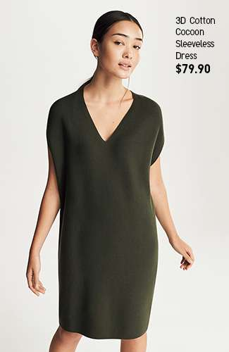 Women's 3D Cotton Coccon Sleeveless Dress at $79.90