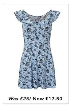 Floral Frill Sleeve Tea Dress