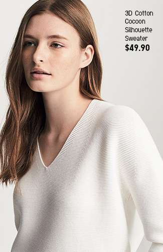 Women's 3D Cotton Cocoon Silhouette Sweater at $49.90