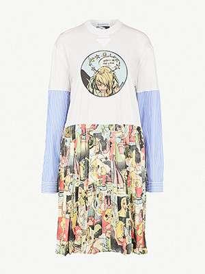 PRADA                                                          Cotton-jersey and silk dress