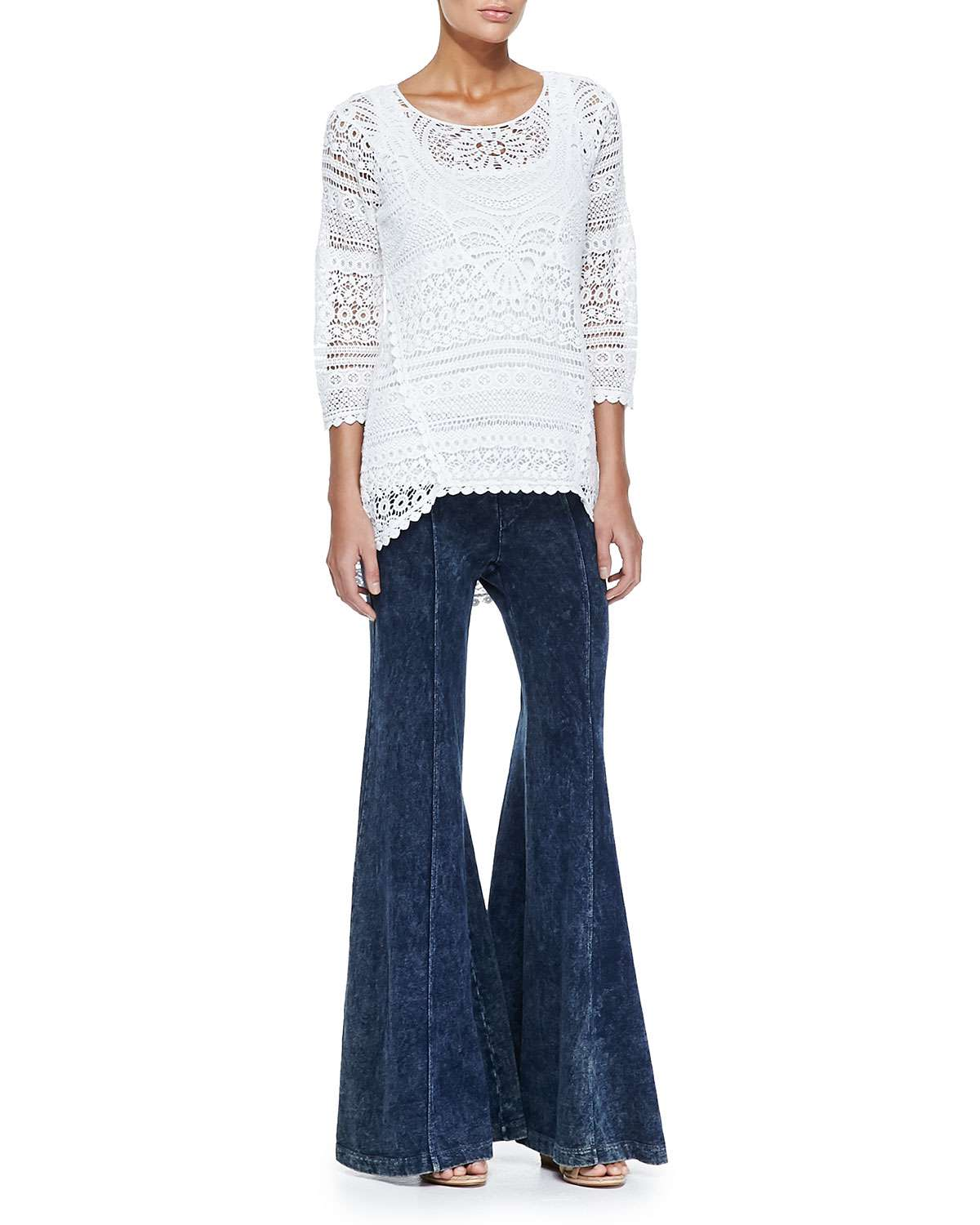 Delaney Crochet 3/4-Sleeve Top, Slim Cotton Tank & French Terry Wide-Leg Pants