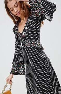 ASOS Midi Mixed Print Ruffle Dress