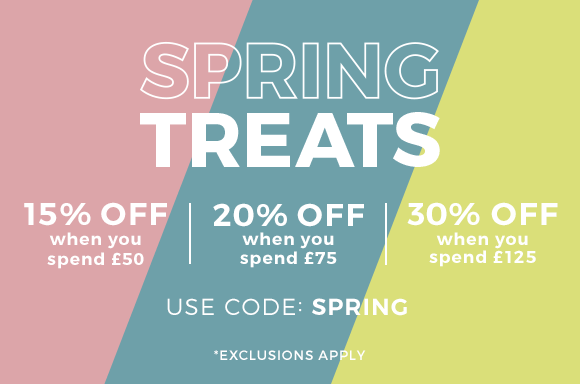 Spend £50 and save 15%, spend £75 and save 20% or spend £125 and save 30%. Simply enter the code SPRING
