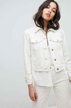J Brand Denim Trucker Jacket With Turnback Raw Cuff
