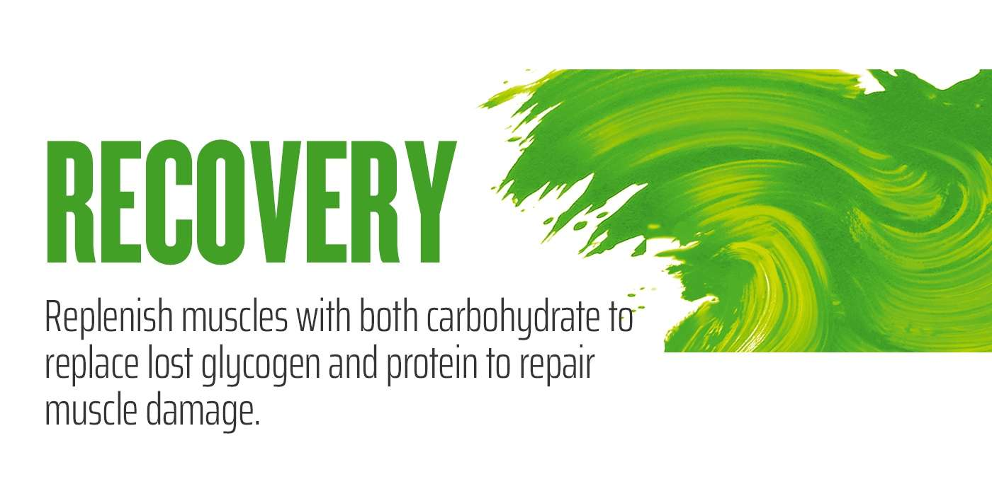RECOVERY - Replenish muscles with both carbohydrate to replace lost glycogen and protein to repair muscle damage.