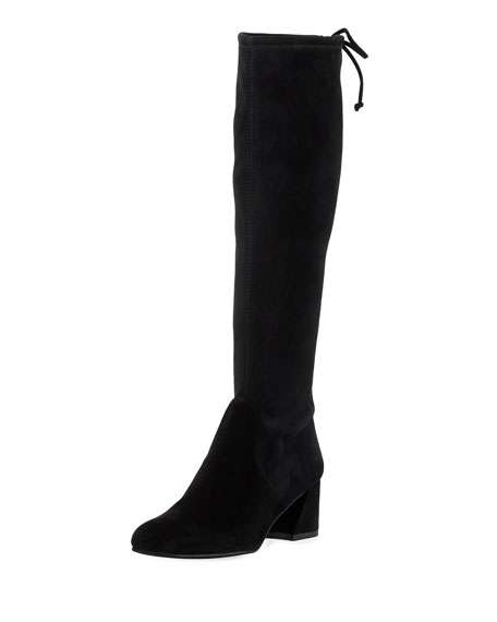 Terra Knee-High Suede Boot, Black
