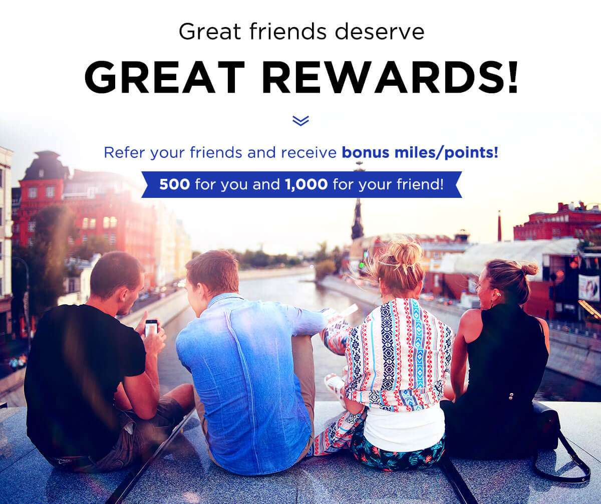 Refer your friends to Kaligo and receive bonus miles/points!