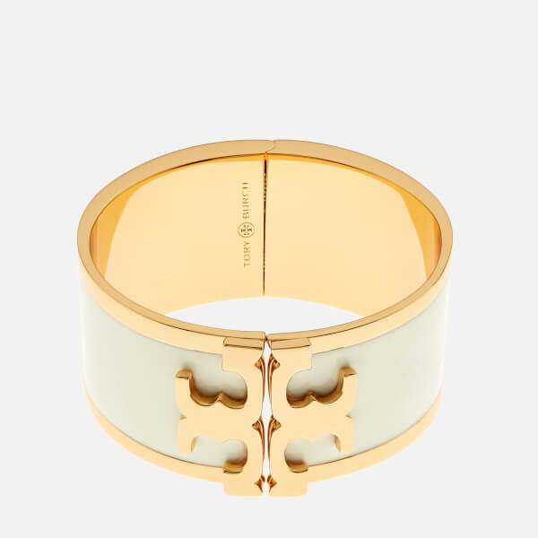 Tory Burch Women's Enamel Raised Logo Wide Cuff Bracelet - New Ivory/Gold