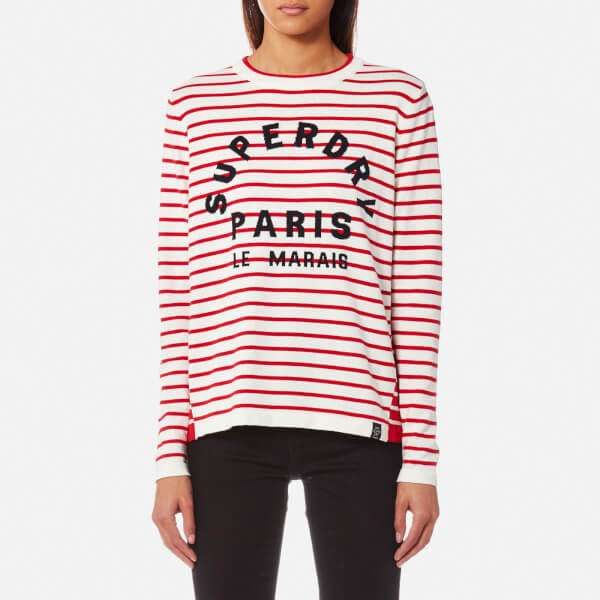 Superdry Women's Le Marais Stripe Knitted Top - Deep Red/Cream