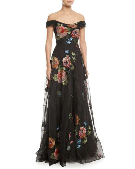 Off-the-Shoulder Embroidered Silk Organza Ball Gown