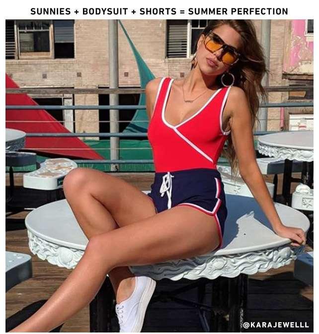 Sunnies + Bodysuit + shorts = Summer Perfection - @KARAJEWELLL