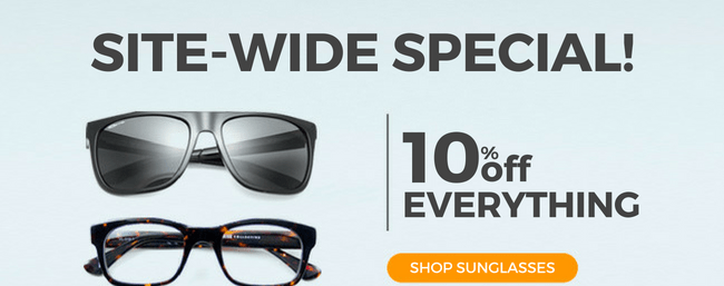 Awesome opportunity! We're offering 10% off all Sunglasses, Eyewears & Contact Lens! 🕶