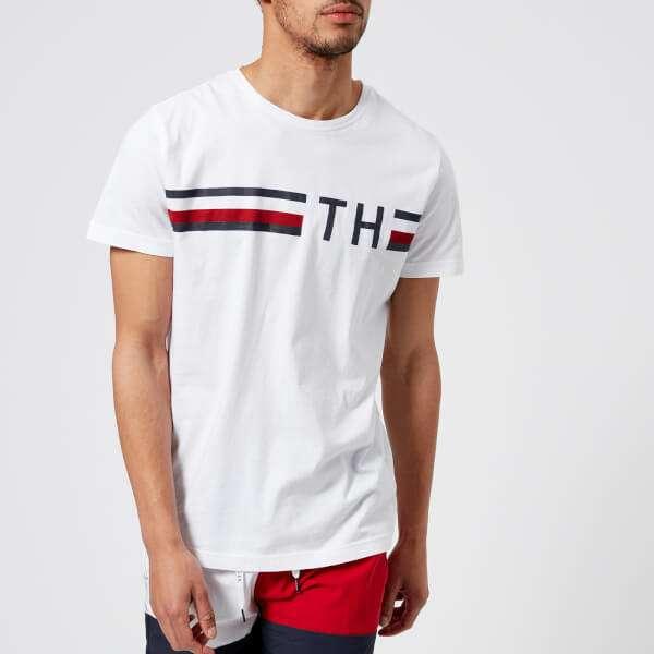 Tommy Hilfiger Men's Striped Logo T-Shirt - Bright White
