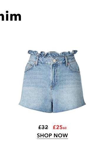 Mid Wash Frill Top Mom Shorts