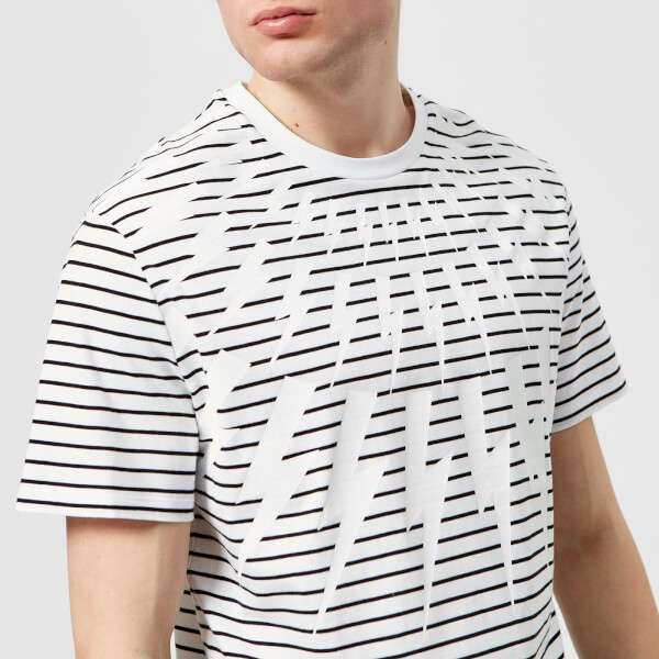 Neil Barrett Men's Fairisle Thunderbolt Striped T-Shirt - White