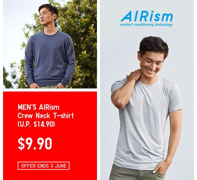 Now on Limited Offer! Shop Men's AIRism T-shirt.