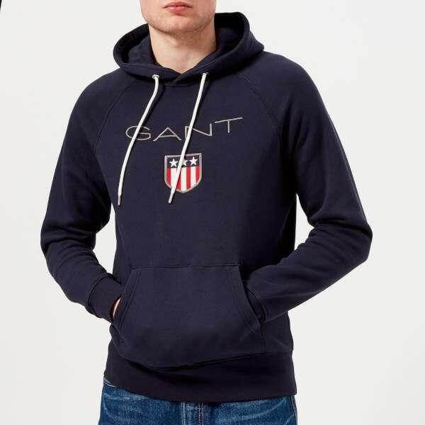 GANT Men's Shield Logo Hoody - Evening Blue