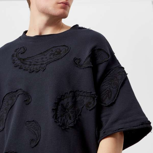 Wooyoungmi Men's Paisley Embroidered T-Shirt - Navy