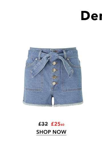 Light Blue Belted Denim Shorts