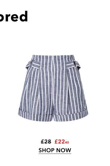Navy Striped Culotte Shorts