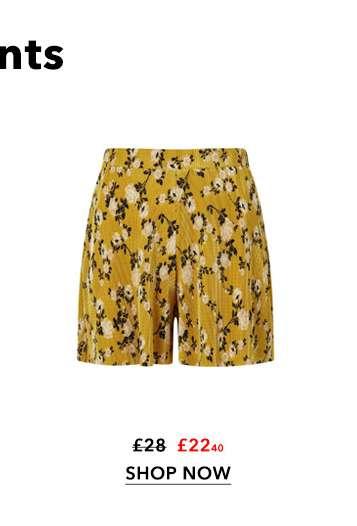 Ochre Floral Print Plisse Shorts
