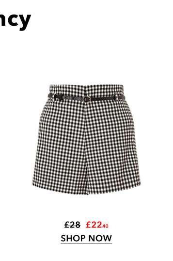 Black Gingham Belted Shorts