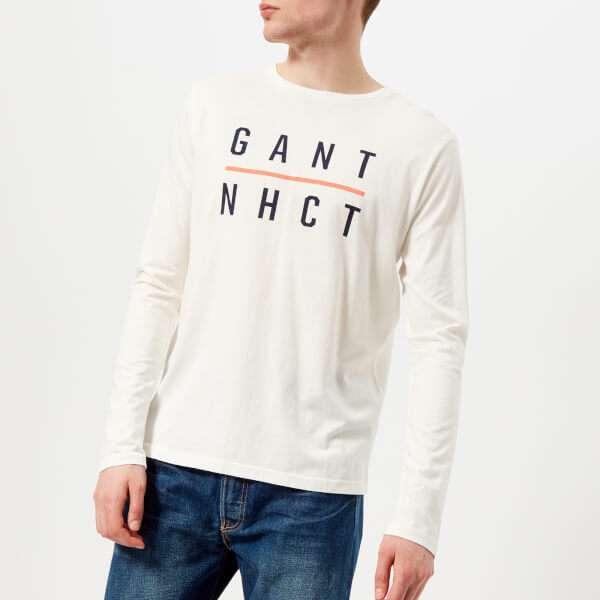 GANT Men's Graphic Long Sleeve T-Shirt - Eggshell