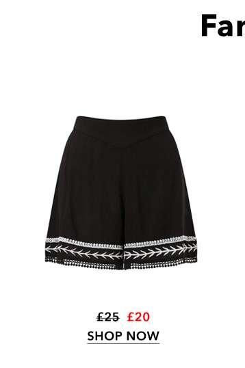 Black Embellished Shorts