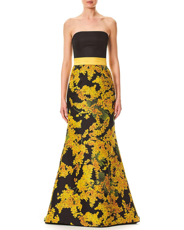 Strapless Mimosa-Flower Print Trumpet Evening Gown