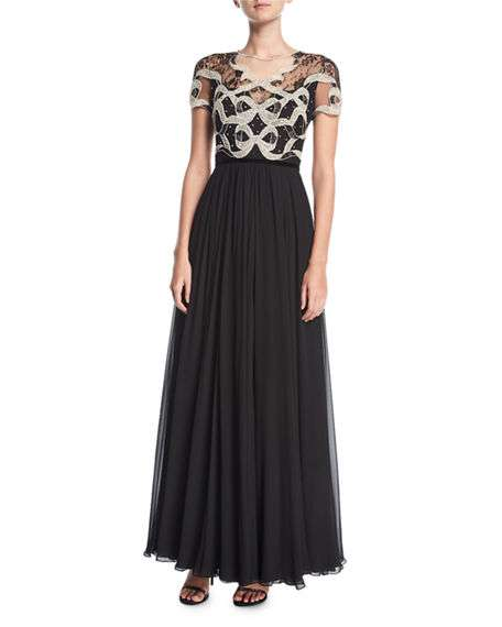Crystal-Beaded & Lace Short-Sleeve Gown