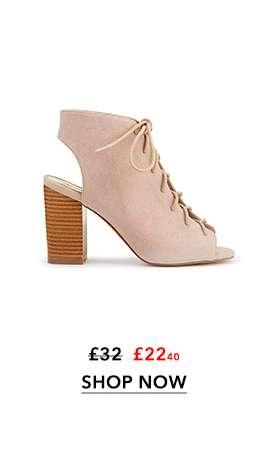 DANNY Lace Up Peep Toe Heel Sandals
