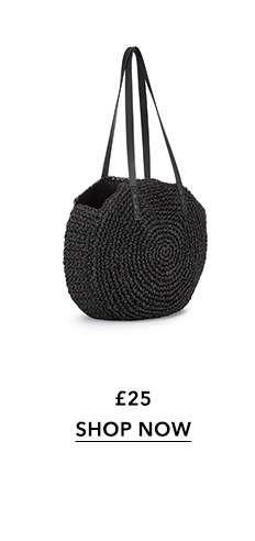 Black Circle Straw Tote Bag