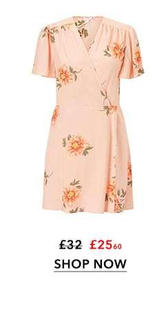 PETITE Apricot Wrap Tea Dress
