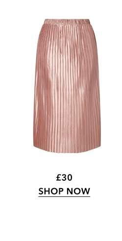Pink Pleat Midi Skirt