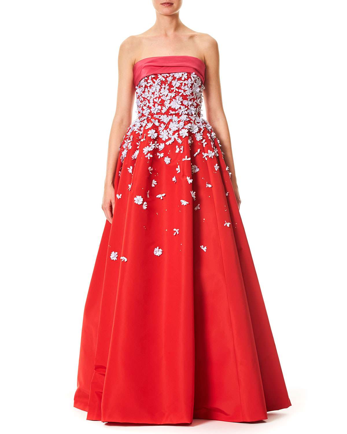 Strapless Silk Faille Evening Ball Gown with Floral Appliques