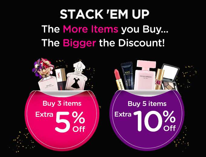 STACK 'EM UP! The More Items you Buy... The Bigger the Discount! Ends 11 Jun 2018 | Auto-applied at checkout | Min spend US$65