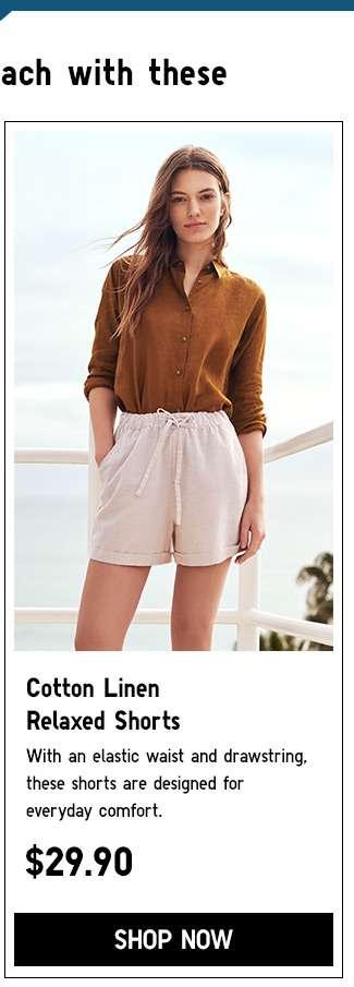 Shop Women's Cotton linen relaxed shorts