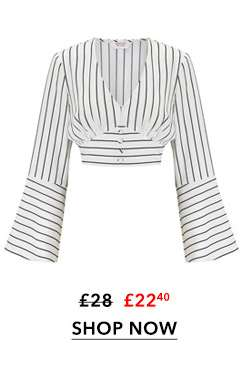 PETITE Striped Button Front Top